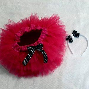 Cerise Pink & Polka Dot Vintage Skirt