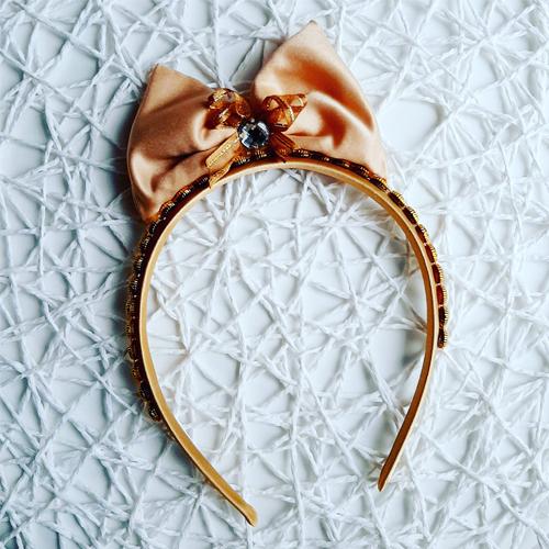 Gold Satin Bow Headband