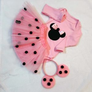 Mini Mouse Pom Pom Set - Pink & Black