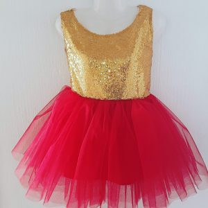 Open back gold and red sequin dress