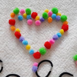 Rainbow Pom Pom Hair Elastic Bands