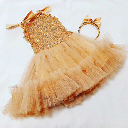 Strappy gold sequin dress