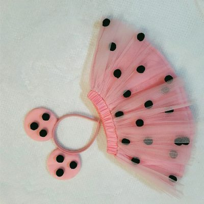 Mini mouse pom pom skirt pink and black